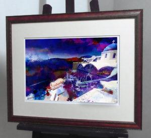 Акварельная композиция с ослепительным островом Санторини