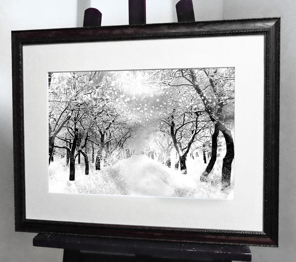 Акварель «Снежный парк»