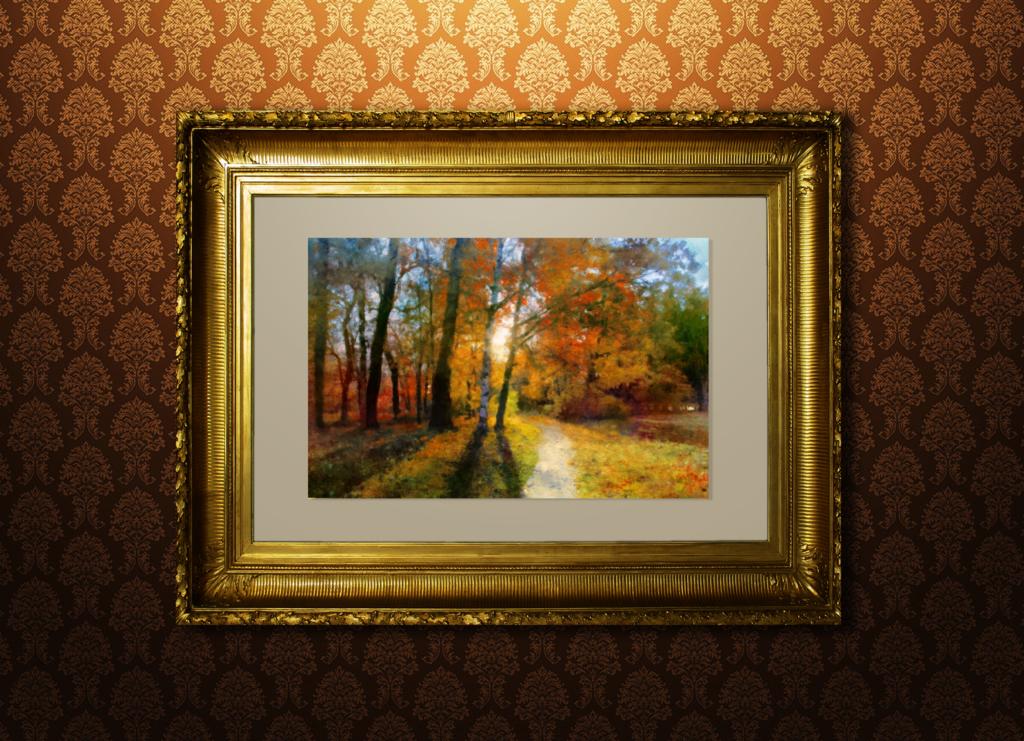 Золотая осень акварель