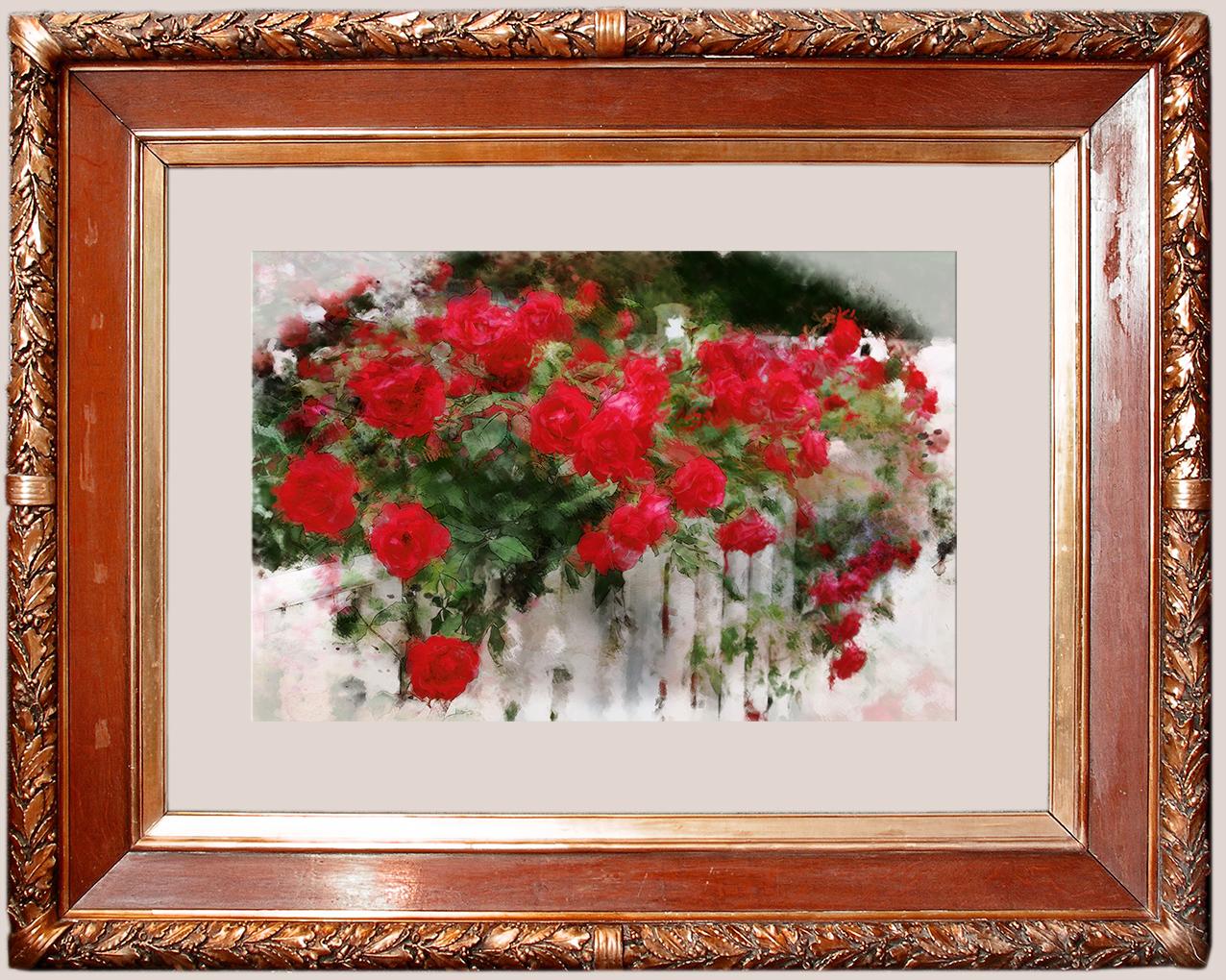 красные розы в багете