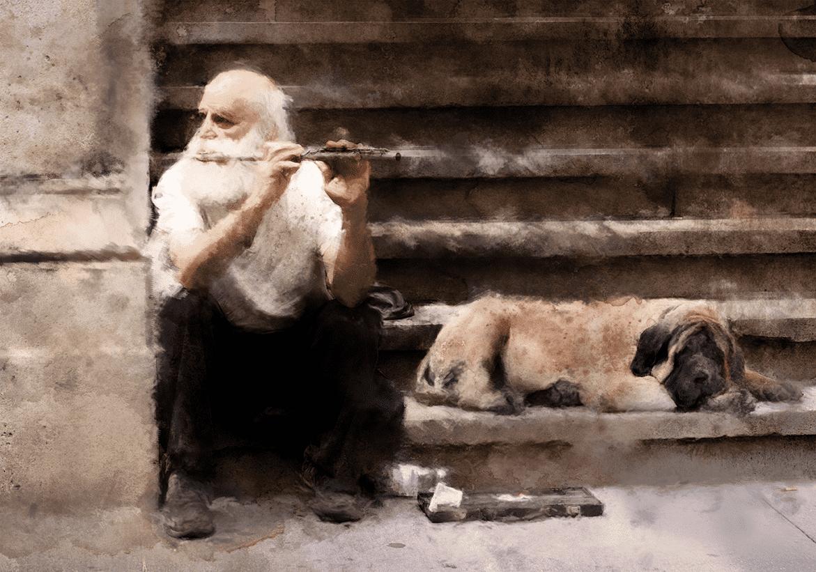 уличный музыкант и его пес